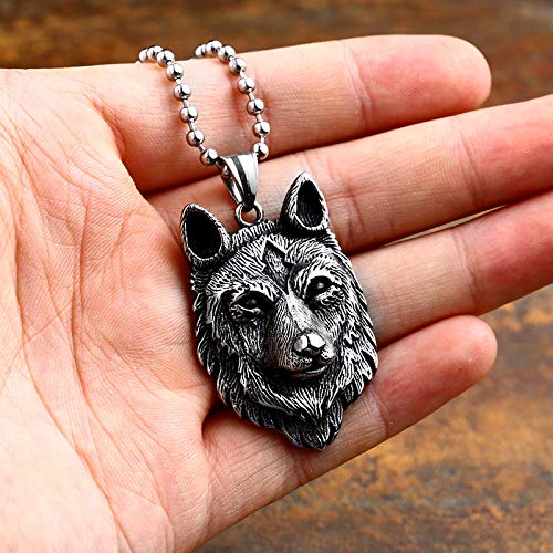 Davitu Steel Soldier Special Design Punk Wolf Pendant Viking Celt 316L Stainless Steel Necklace Men Amulet Fashion Jewelry Boys Gift Metal Color: only Pendant