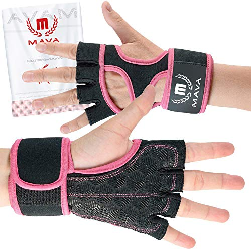 Mava Sports Crossfit grips gloves with Integrated Wrist Wraps and Full Palm Silicone Padding. Unisex. Crossfit grips Gym gloves for women Sport gloves Pull up grips Weight lifting gloves men Cross tra