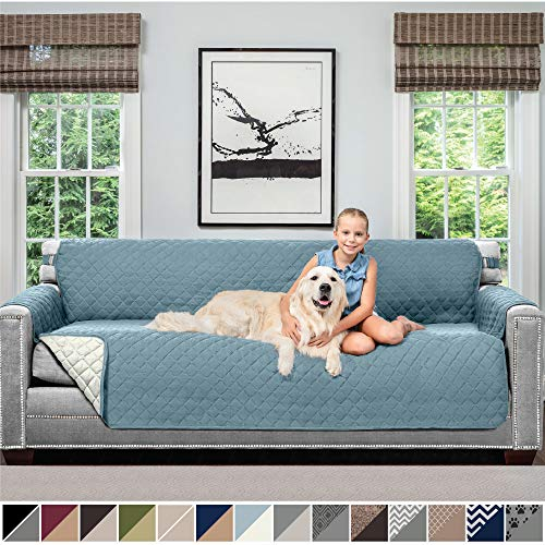 Sofa Shield Original Patent Pending Reversible X-Large Sofa Protector for Seat Width up to 78 Inch, Furniture Slipcover, 2 Inch Strap, Couch Slip Cover Throw for Pets, Kids, Cats, Sofa, Seafoam Cream (Slipcovers Couches With)