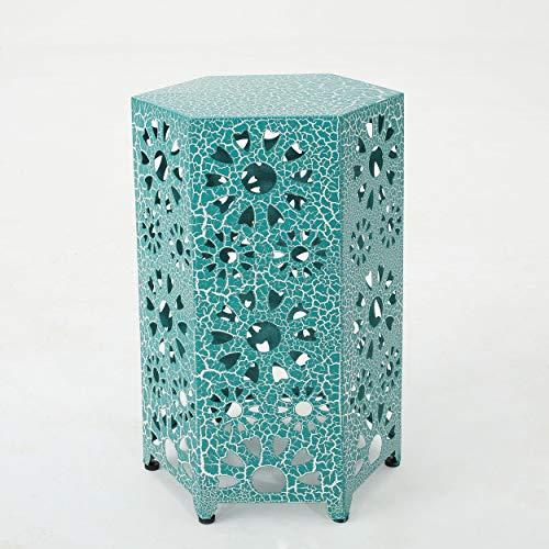 GDF Studio Elliot Outdoor 14 Inch Sunburst Iron Side Table (Crackle Teal) (Crackle Studio)