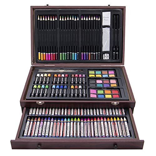 LUCKY CROWN 143 Piece Deluxe Art Set,Artist Sketching Drawing & Painting Set,Art Supplies with Wooden Case,Professional Art Kit for Kids,Teens and Adults ()