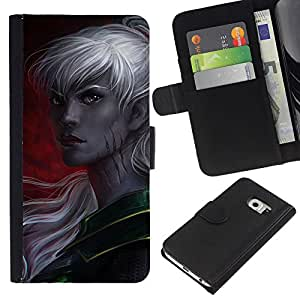 Planetar® Modelo colorido cuero carpeta tirón caso cubierta piel Holster Funda protección Samsung Galaxy S6 EDGE (NOT S6) ( Elf Grey Woman Fairytale Game Crimson )