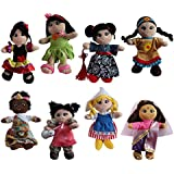 """Soft Plush Around the World 8"""" Dolls, 8 Pack"""