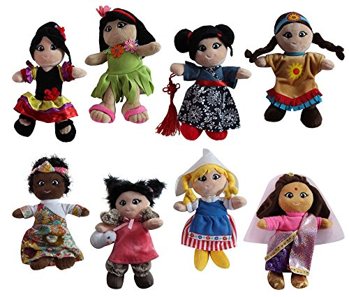 "Snuggle Stuffs Soft Plush Around The World 8"" Dolls, 8 Pack"