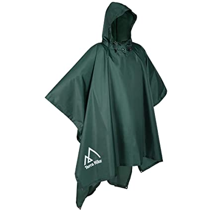 af20af179 Terra Hiker Rain Poncho, Waterproof Raincoat with Hoods for Outdoor  Activities (Army Green)
