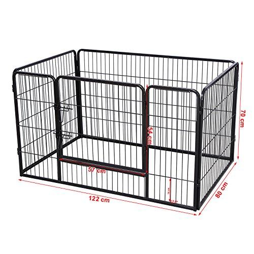 Feandrea recinzione recinto per cani conigli animali di ferro nero 122 x 80 x 70 cm ppk74h - Recinto mobile per cani ...