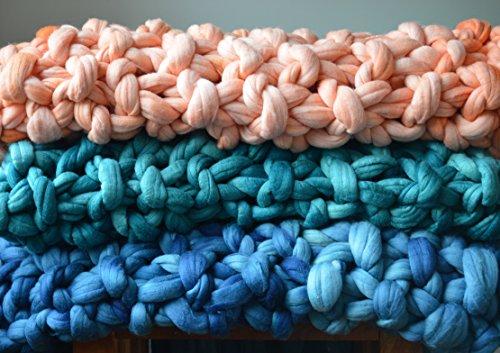 Chunky Knit Throw - 100% Merino Wool Blanket with Fringe