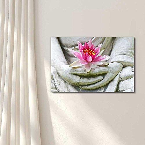 Buddha Hands Holding Flower Wall Decor Wood Framed