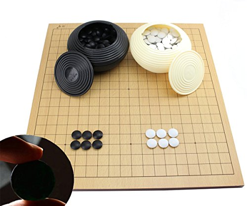 Go Game Set With a Wooden Board ~ Double Convex Plastic Stones and Plastic Bowls Go Game Set WXT0112 + WXP0012 ~We Pay Your Sales Tax by We pay your sales tax