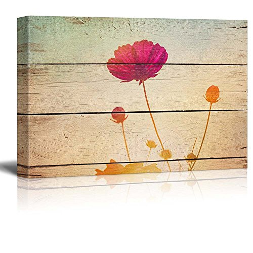 wall26 Pink Poppies in a Field Sunlight - Rustic Floral Arrangements - Pastels Colorful Beautiful - Wood Grain Antique - Canvas Art Home Decor - 24x36 (Poppy Arrangement)