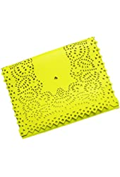 Generic Women Retro Style Hollow Out Candy Color Clutch Bag Envelope Bag Messenger Bag (yellow)