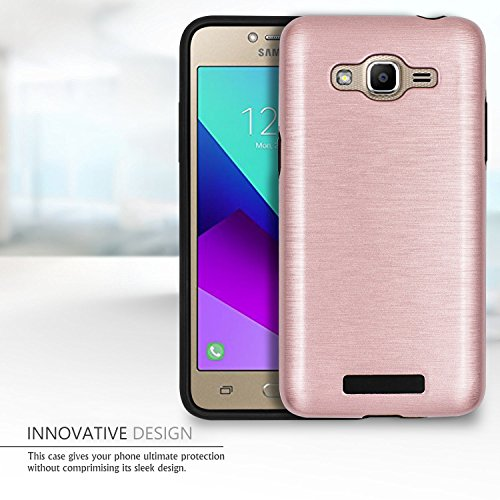 Galaxy J2 Prime Case,Galaxy Grand Prime Plus Case,(TM)[Metal Brushed Texture] Impact Resistant Heavy Duty Hybrid Dual Layer Shockproof Protective Cover Shell For Samsung Galaxy J2 Prime Rose Gold Photo #5