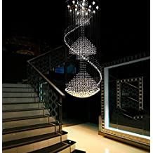 "Siljoy Modern Crystal Chandelier Large Rain Drop Ceiling Light for Foyer Staircase Entryway D 39.4"" X H 110"""