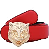 Yuangu Men's Big Tiger Buckle 38-mm Italian Leather Belt (110cm/43.3inch...