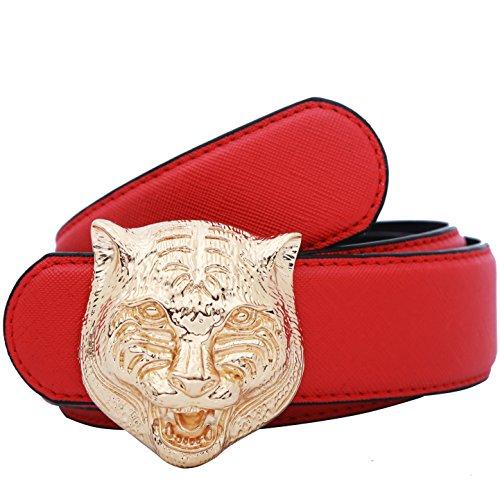 Yuangu Men's Big Tiger Buckle 38-mm Italian Leather Belt (105cm/41.3inch (34-36), Red (Tiger Buckle)