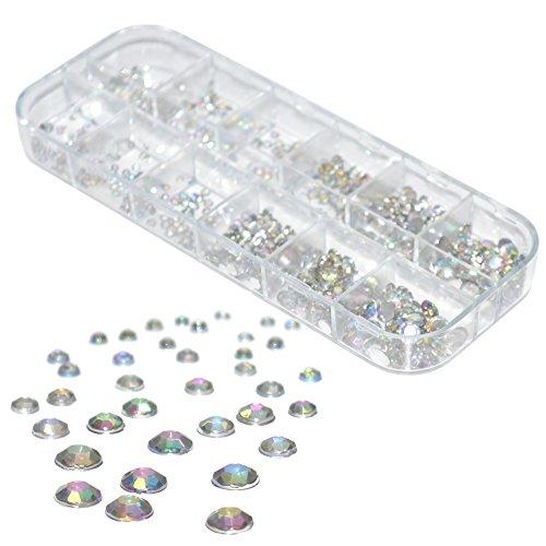 über 600 runde Multicolor Kristall Strass Steinchen irisierend von 1-6 mm mit flacher Rückseite