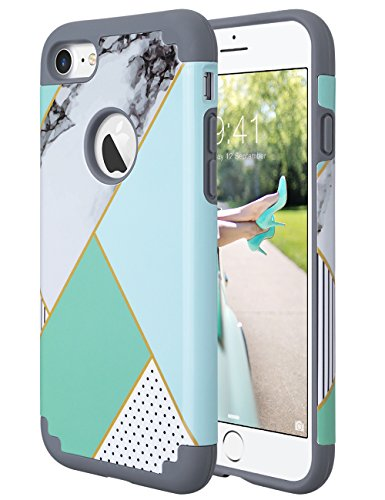 ULAK iPhone 7 Case Marble, Slim Fit TPU Plastic & Hard PC Protection Hybrid Dual Layer Anti-Scratch Shock Absorbing Cover for Apple iPhone 7 4.7 inch, Mint Green Marble