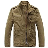 Heihuohua Men's Cotton Stand Collar Lightweight Military Windbreaker Jacket