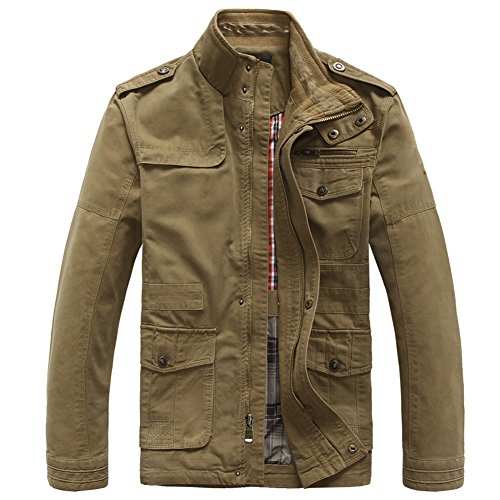 Heihuohua Men's Classic Field Coat Cotton Stand Collar Military Windbreaker Jacket, Khaki, Medium