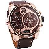 OULM Rose Golden Case Men Digital Quartz Watch Sub-dials Brown Leather Strap Super Size Japan 3 Time Zone Display Movement + Box