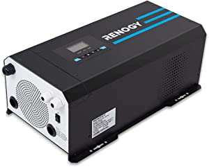 Renogy PCL1-30111S 3000 Watt 12V DC to 120V AC Pure Sine Wave Inverter Charger w/LCD Display, Lithium Battery Compatibility 9000W Surge