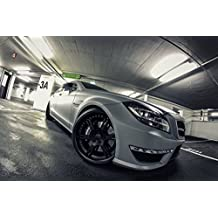 "Mercedes-Benz CLS63 (C218) AMG Seven-11 by Wheelsandmore (2012) Car Art Poster Print on 10 mil Archival Satin Paper White Front Side Tilt Closeup Static View 36""x24"""