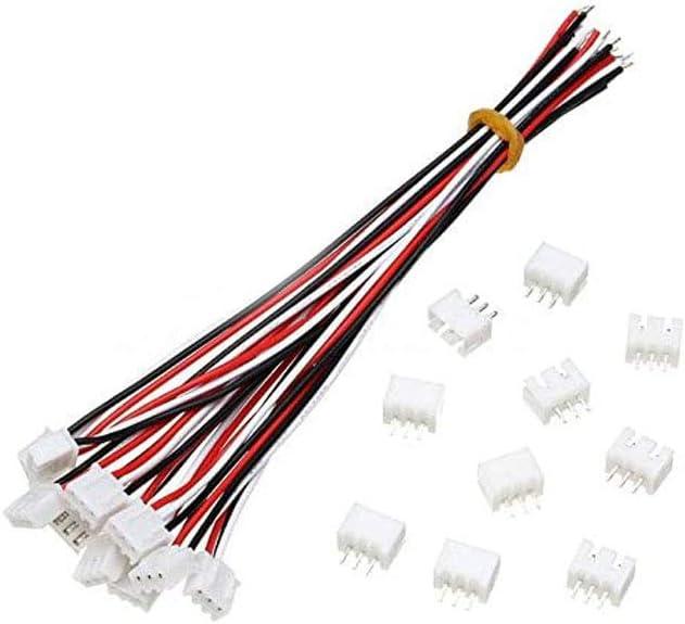 10 Ensembles Mini Micro JST XH2.54mm Connecteur Connecteur /À 2 Goupilles Avec Fils C/âbles 150mm Kaemma Rouge