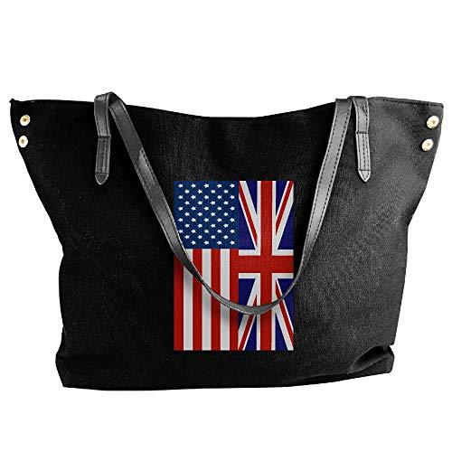 (SW98Q98 British American Flag Women's Casual Shoulder Bag Canvas Handbag for School Big Shopping Bag)