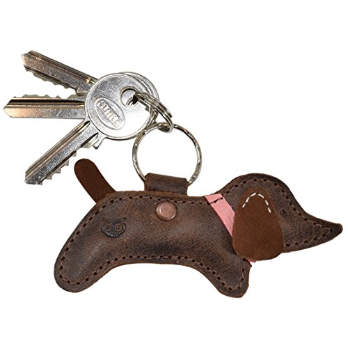 Leather Dog Key Ring - Critter Keychain Rustic Leather Animal Key Ring Holder Handmade by Hide & Drink :: Hot Dog