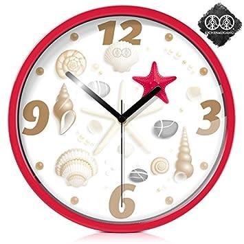 Reloj de pared de arte Dibujo creativo personalidad relojes de cuarzo relojes animados amados hijos de silencio ,caja de metal rojo,12 pulg.