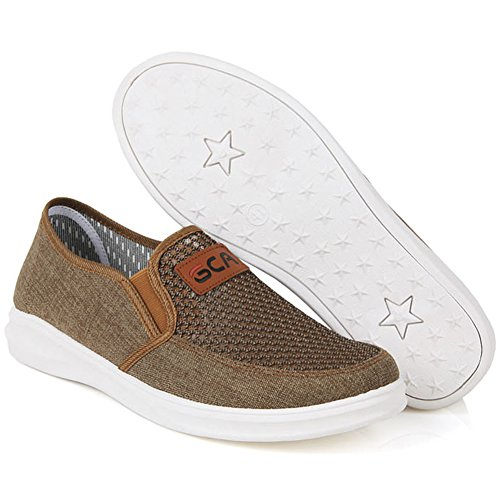 Nuevo Summer Mesh Loafers Slip On Hombres Casual Trend Fashion Comfort Zapatos Marrón