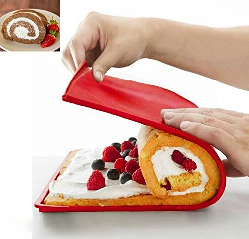 URBeauty Cake Roll Pad Silicone Non Stick Swiss Roll & Roulade Cake Mold Baking Sheet 12.4X10.6X0.35 Inches Red Kitchen Tool Supplies