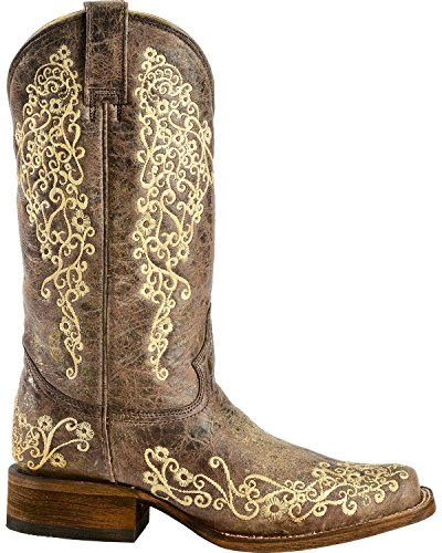 Corral New Womens A2663 Bone Embroidery Square Toe Western Boot Brown ugnqW96tx