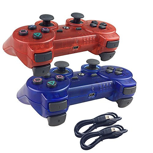 Deloke Wireless Bluetooth Controller For PS3 Double Shock - Bundled with USB charge cord (Clear Red and Clear (Nyko Wireless Guitar)