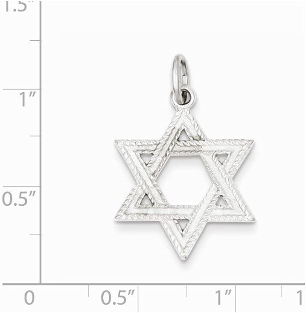 .925 Sterling Silver Satin Star of David Charm Pendant