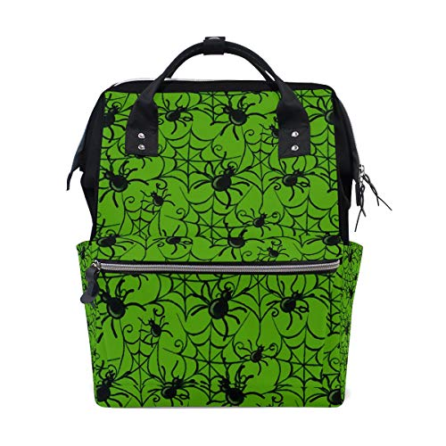 FOLPPLY Halloween Spide with Cobweb Diaper Bags Mummy Tote Bags Large Capacity Multi-Function Backpack for Travel -