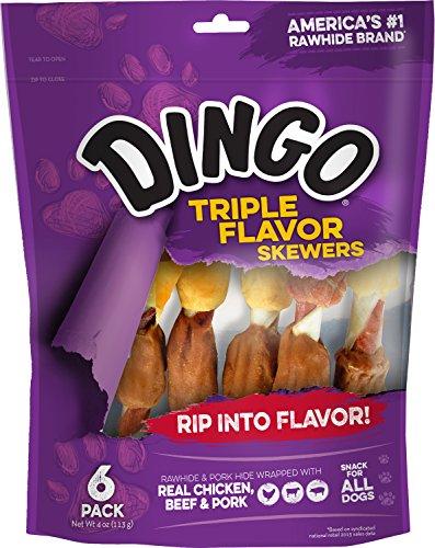 Dingo Triple Flavor Skewers Rawhide & Porkhide, 6-Count