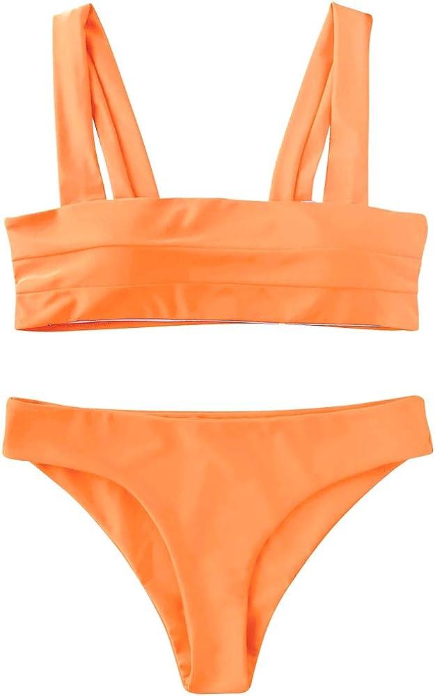Women Bikini Suit Wide Straps Padded Bandeau Bikini Set Neck Pullover Swimsuit