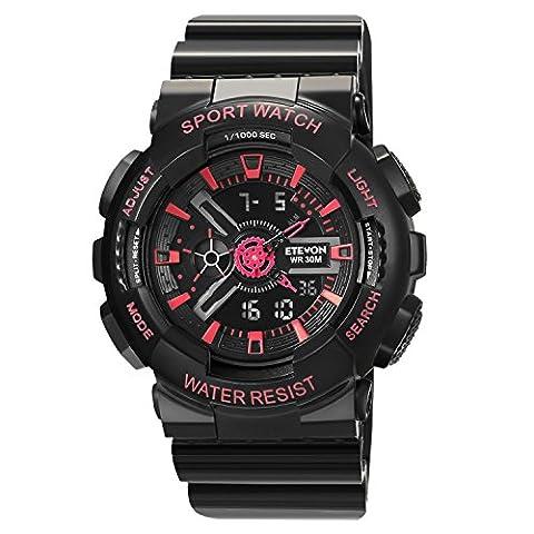 ETEVON Women Multifunction Analog Digital Quartz Sport Watch, Electronic Waterproof Calendar Alarm Stopwatch Outdoor Black Fashion Watches for (Sport Watch Ladies)