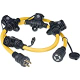 Cerrowire 615-16457HDR GeniMAX 5-Feet 12/4 Generator Cord, 2 Circuits, 5 Outlets, Yellow