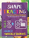 Shape Tracing and Coloring Practice Workbook for Preschoolers to 3rd Grade