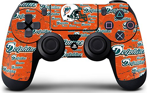 (Skinit Miami Dolphins - Blast PS4 Controller Skin - Officially Licensed NFL PS4 Decal - Ultra Thin, Lightweight Vinyl Decal Protective Wrap)