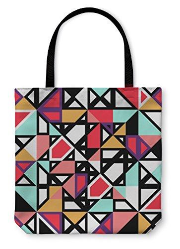 Gear New Shoulder Tote Hand Bag, Retro Pattern Geometric Shapes, 18x18, - Bags Sample Optical Frame