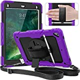 IPad Case 5th/6th Generation,Timecity New iPad Pro 9.7 Inch Case with Pencil Holder,360 Build-in Swivel Stand, Hand Strap,Shoulder Strap Rugged Protective Cover for iPad 6th/5th/ Air 2/ Pro 9.7-Purple