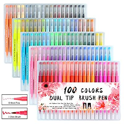 100 Colors Art Markers Dual Tip Brush Pens with Fineliner Tip 0.4mm and Brush Tip 1-2mm Double Tip Pens Set for Adult Coloring Books, Bullet Journal, Calligraphy, Drawing