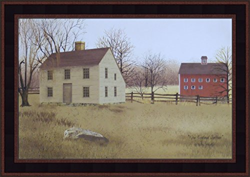 (New England Saltbox by Billy Jacobs 15x21 Country Houses Primitive Folk Art Print Framed Picture)