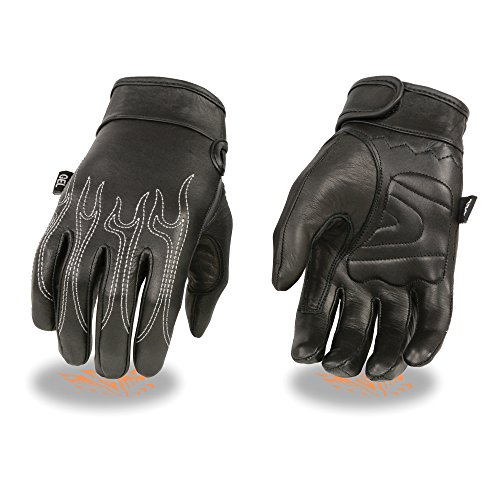 (Milwaukee Leather Men's Premium Leather Cruiser Gloves with Flame Embroidery and Gel Palm (Black, X-Large) )