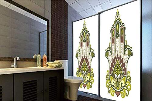 - Horrisophie dodo No Glue Static Cling Glass Sticker,Hamsa,Asian Symbol with Mandala Inspired Motifs Lotus Paisley Traditional Decorative,Dimgrey Green Apple Green,39.37