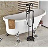 Rozin ORB Finish Bathroom Tub Spout Dual Handles Floor Standing Mixer Faucet With Hand Shower