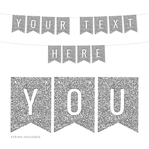 Andaz Press Fully Personalized Faux Silver Glitter Party Banner Decorations, Your Text Here, Approx 5-Feet, 1-Set, Graduation Anniversary Wedding Colored Hanging Pennant Decor, Custom -